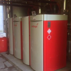 Two red Windhager boilers