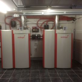 2 red biomass boilers